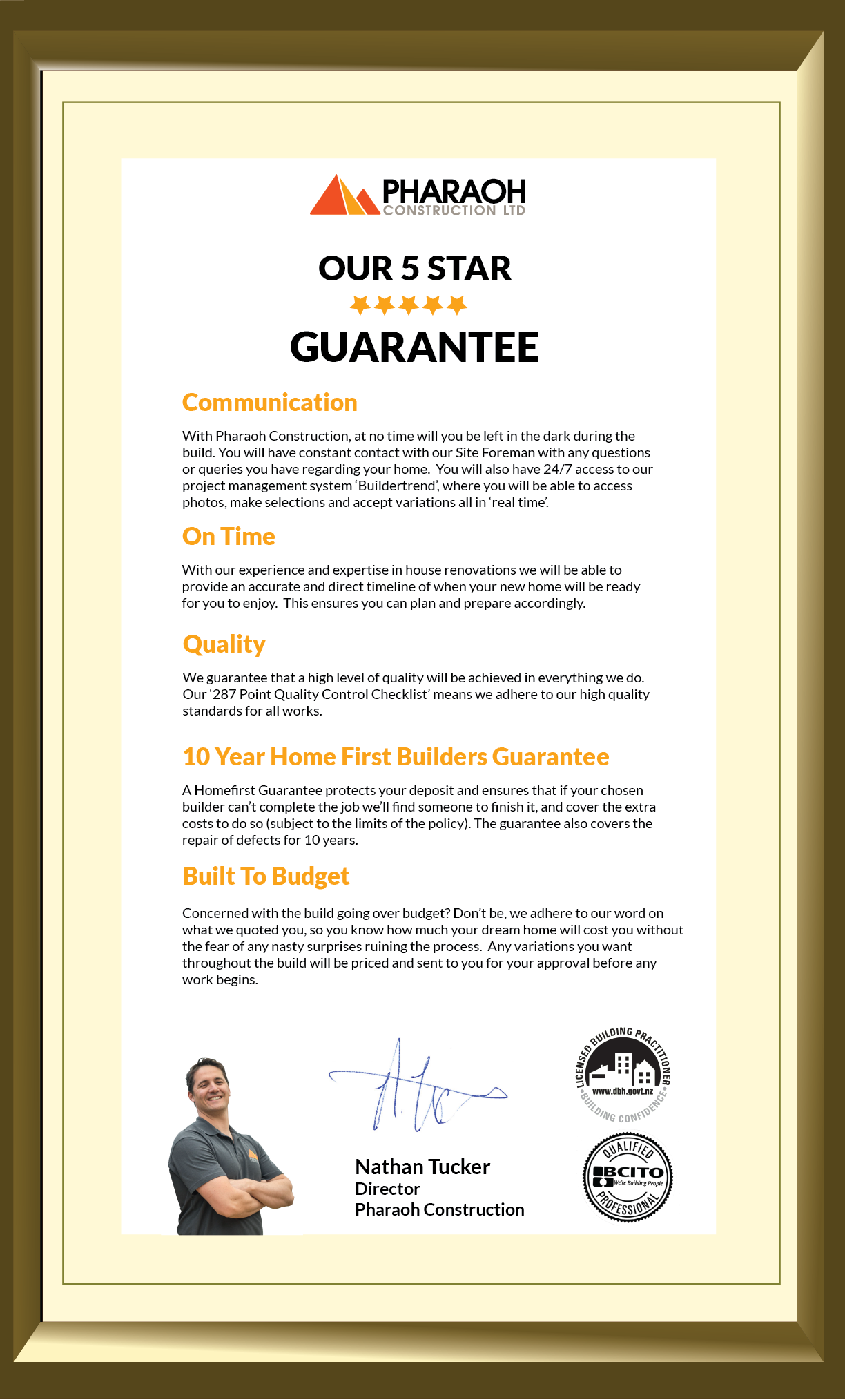 Certificate of 5 star Guarantee